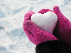 pink glove snow heart